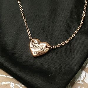 Guess Heart Pendant Necklace in RoseGold